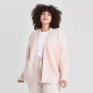 Ava & Viv Plus Size Pink Open Front Cardigan